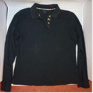 Burberry Golf Black Long Sleeve Polo