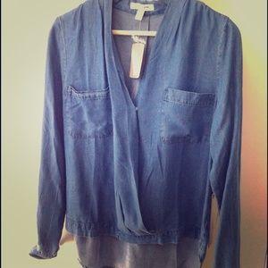 Forever 21 denim pocket draped blouse size S