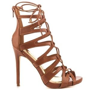 Shoes - 🆕Single Sole Lace Up Sandal in Cognac/Tan
