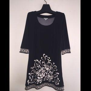 LOFT Black and White Floral Print Day Dress