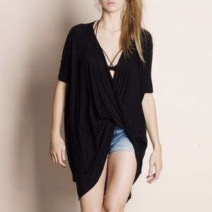 Faux Wrap Twist Front Top