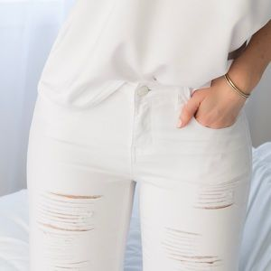 Boutique Pants - BACK IN! White Ripped Skinnys