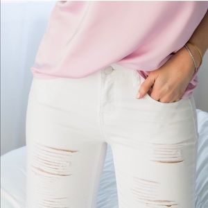 Boutique Pants - White Ripped Skinnys *LAST!