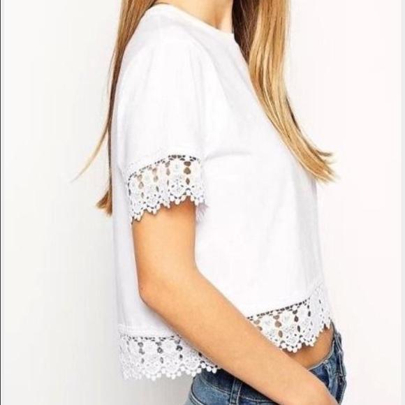 38f9b4dffa4 Tops | White Lace Trim Crop Top Short Sleeve Tee Shirt | Poshmark