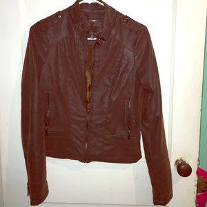 Kohls Jackets & Blazers - Brown Pleather Jacket