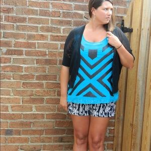 Blue Sleeveless Top with Black Sequins