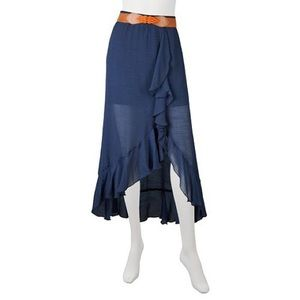 Iz Byer Navy Gauze High Low Skirt