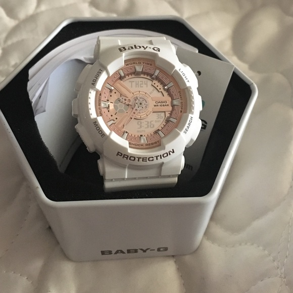 68b03193210a Baby-G White and Rose Gold Watch. No. 5338