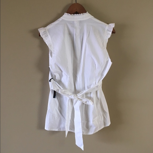 85 off bcbg tops crisp white bcbg cotton tie back l nwt for Crisp white cotton shirt