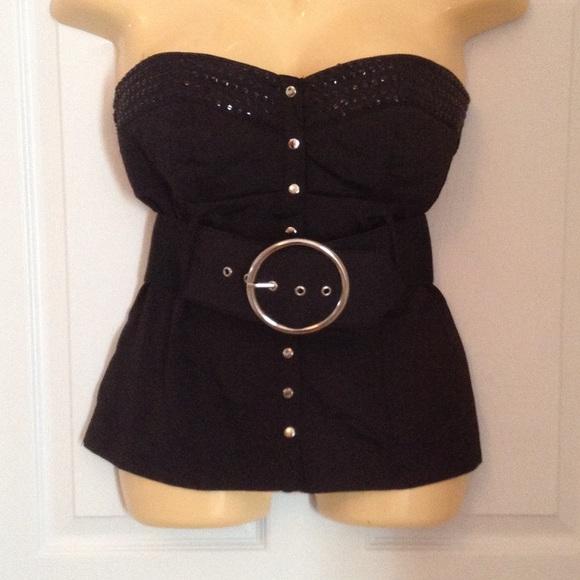 f0cbf4c9ba NWT 2b Bebe Tube Top Black Studded Belted M