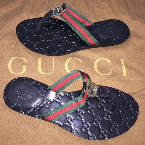1e1b68844914 Gucci Shoes - Authentic Gucci GG Logo Web Flip Flops Sandals 8.5