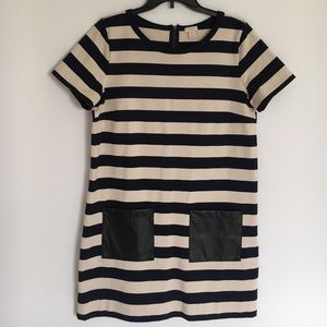 HP J. Crew Navy White Striped Dress Leather Pocket