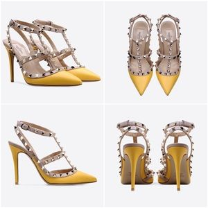 Valentino Shoes - Yellow Rockstud Studded Leather Pumps