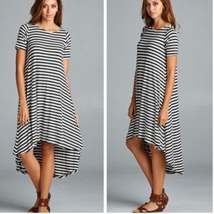 •hi Lo striped dress•