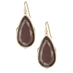 Stella & Dot Sentiment Stone Drops in Smoky Quartz