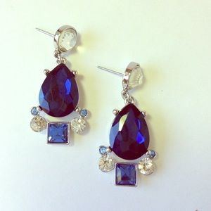 Glam Sapphire Blue Chandelier Earrings