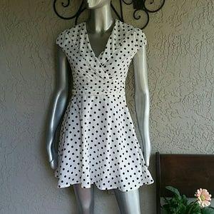 Allegra K Dresses & Skirts - White w/Black Polka Dots Mini Dress