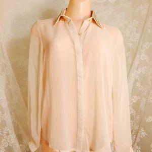 Cream see through blouse. FINAL CLEARANCE