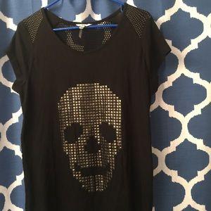 Black Stud Skull T-Shirt with Fishnet Back Sz. M