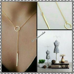 New Gold Tone Circle Bar Necklace