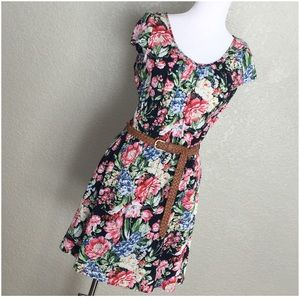 Papaya Black w/ Bold Florals Dress