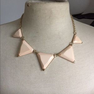 Peach triangle statement necklace