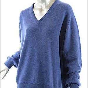 Malo Sweaters - MALO Blue 100% Cashmere V-Neck Relaxed Style Italy