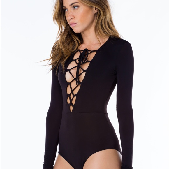 7076ef5250 Black lace up bodysuit reformation long sleeve S. M_56f464a241b4e0dec200d4a8