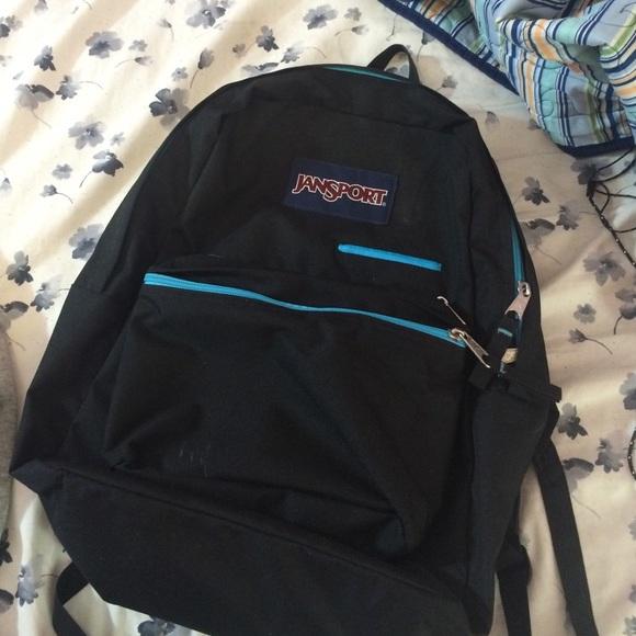 56% off Jansport Handbags - Black/Blue Jansport Digibreak Backpack ...