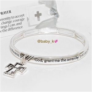 Serenity Prayer Cross Charm Bracelet