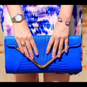 Boohoo Handbags - boohoo cobalt faux leather clutch