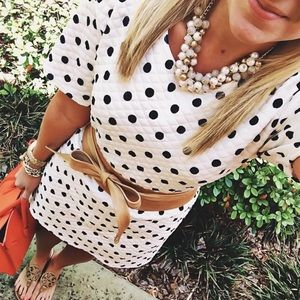 White dress with black polkadots by Boohoo