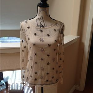 Exquisite Ann Taylor Beaded Blush Top and Cami