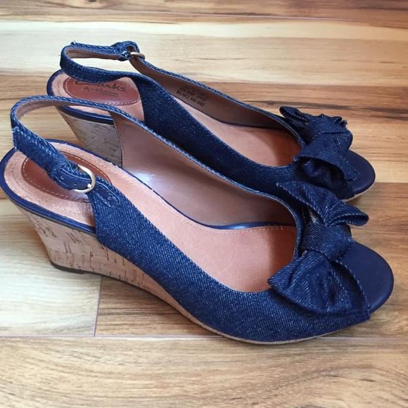 8ad6230ef9a0 Clarks Shoes - Clarks denim wedges