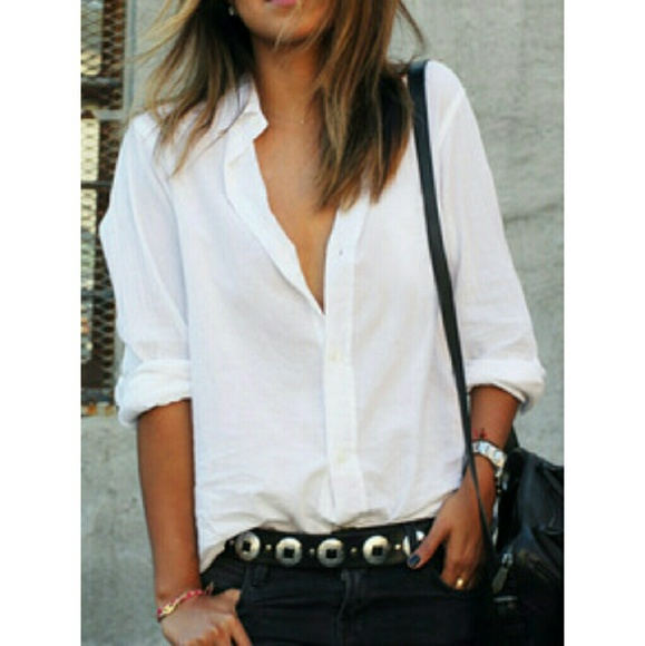 Free People Tops Boyfriend Fit White Semi Sheer Button Up Shirt