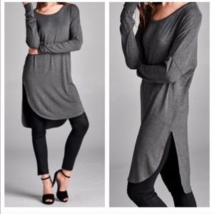 High low side slit tunic