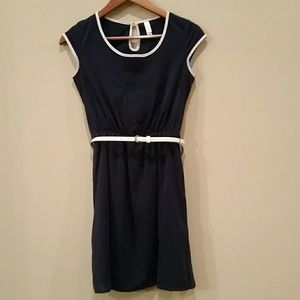 Navy and Off White Dress