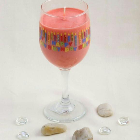 happy birthday wine glass scented soy - Happy Birthday Wine Glass