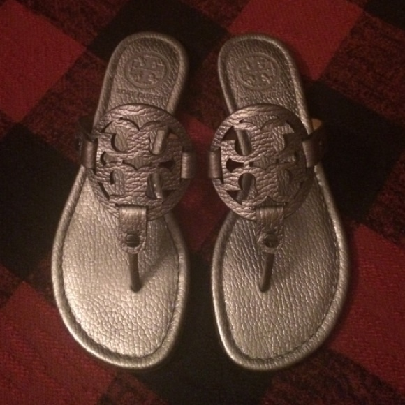 c3a8bf164f3fd8 ... good nwottory burch miller sandals in pewter size 5.5 a6d23 cc7b5