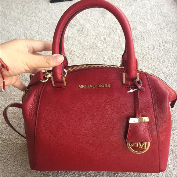 2144e408b9b5 Michael Kors Bags | Sold Riley Small Satchel Cherry | Poshmark
