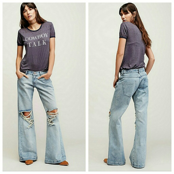 latest releases limited sale new collection Free People x One Teaspoon RELAXED WESTENDER FLARE NWT