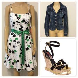 Alyn Paige Dresses & Skirts - Satin tie green, white & black dress