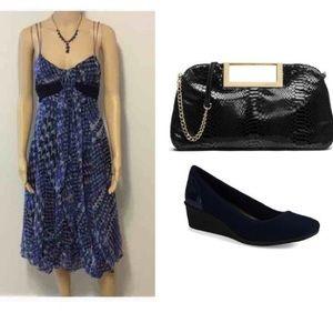 Zara Dresses & Skirts - Blue, gray & black strappy dress