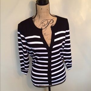 Stripe spring sweater button front