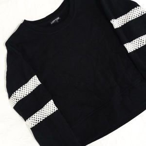 Express Tops - Cropped Varsity Black and White Sweatshirt