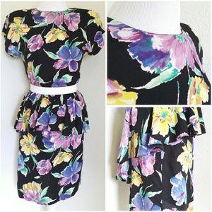  *vintage* floral peplum dress