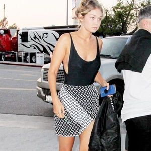 Foxiedox Dresses & Skirts - Black + White Asymmetrical Grid Skirt