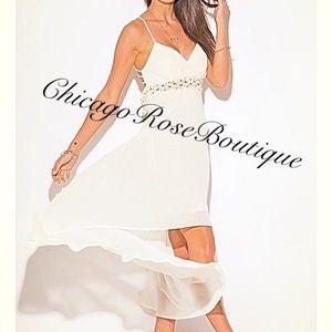 🌺💋Chiffon rhinestone and faux peal dress