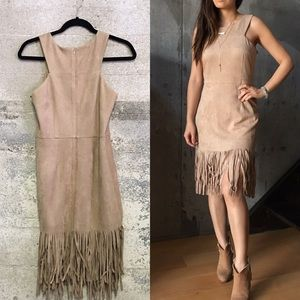 JOA faux suede fringe dress