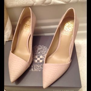 Vince Camuto asymmetrical pumps in cashmere snake